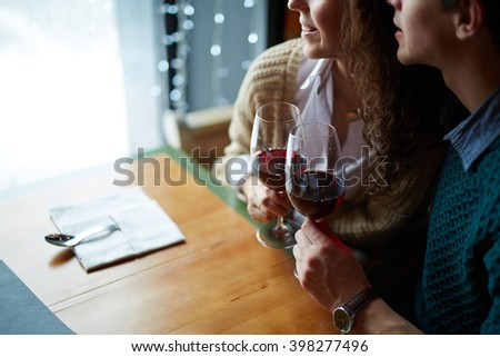 Lovers with wine - stock photo