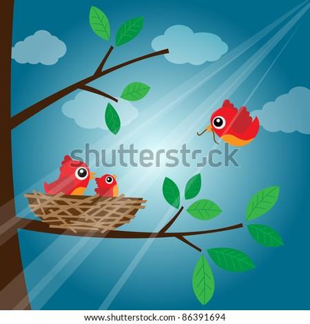Loving bird feeding in the evening - stock photo