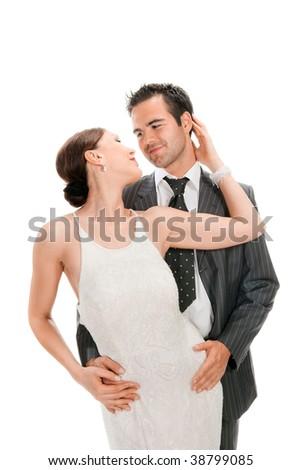 loving couple, happy and funny - stock photo