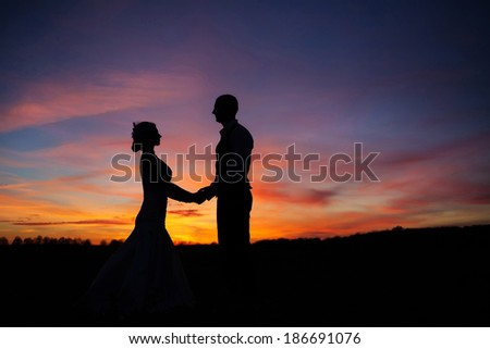 loving couple holding hands at sunset - stock photo