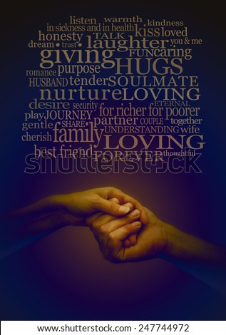Loving Embrace   Dark blue dramatic lighting effect on man and woman holding hands tenderly, with a cloud of wedding and love related words above, on a dark blue background  - stock photo