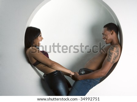 Loving ethnic black African-American young affectionate heterosexual couple - stock photo