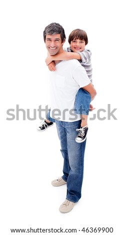 Loving father giving his son piggyback ride against a white background
