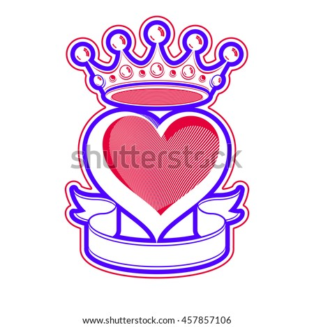 Loving heart artistic illustration with king crown. Royal sophisticated symbol, imperial accessories. Valentine day romantic design element, best for use in advertising and graphic design. - stock photo