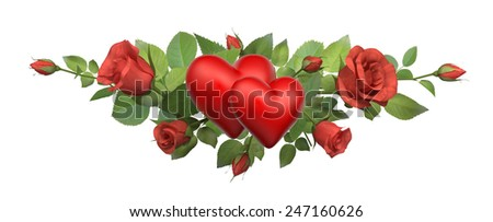 Loving hearts. Border with a roses isolated on white. - stock photo