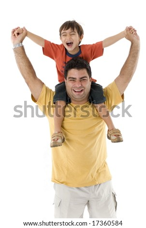 Loving moment between father and son