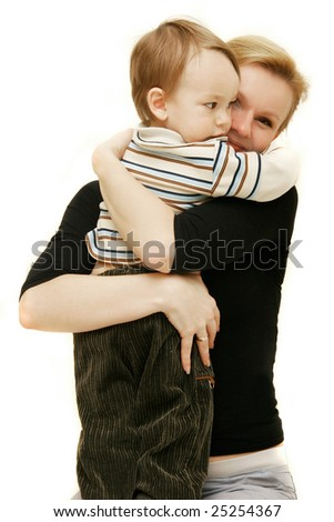 loving mother and son over white