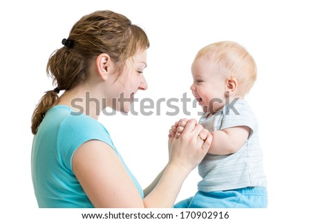 Loving mother having fun with her baby boy