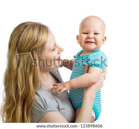 loving mother holding baby boy isolated on white background - stock photo