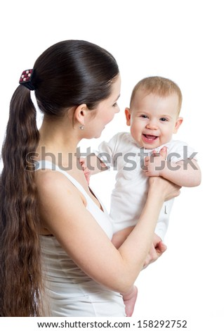 loving mother holding baby girl isolated on white - stock photo