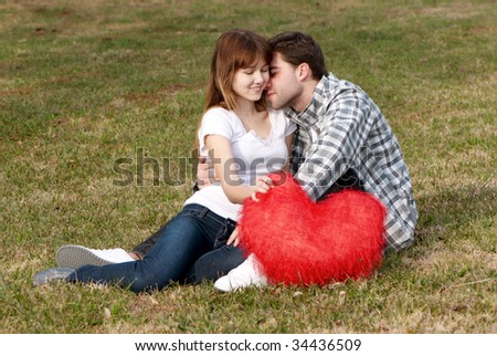Loving young couple, beautiful and happy - stock photo