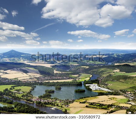 Lovosice, Pistany, Male Zernoseky, River Elbe and Mountain Milesovka, Czech Republic - stock photo