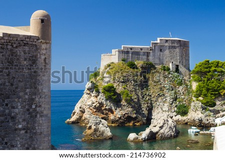 Lovrijenac Fort at the northern harbor entrance from the old town walls in Dubrovnik, Croatia - stock photo