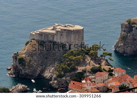 Lovrijenac fort on top of tall rock above the Adriatic sea, Dubrovnik, Croatia - stock photo