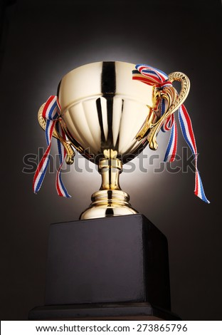 low angle of the trophy with light at the back - stock photo