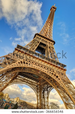Low angle shot of iconic Eiffel Tower, Paris, France - stock photo
