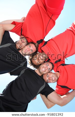 low-angle shot of players - stock photo