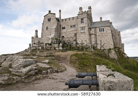 Low angle shot of Saint Michael's Mount in Marazion, Cornwall, UK - stock photo