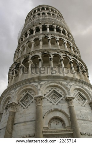 Low angle shot of the Tower of Pisa