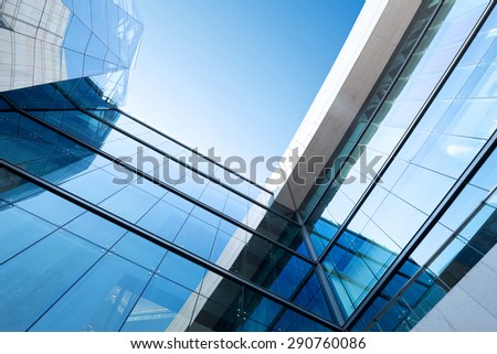 low angle view modern building exterior - stock photo