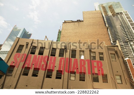 Low angle view of a building with 'Spanish Quarter' written on the side - stock photo