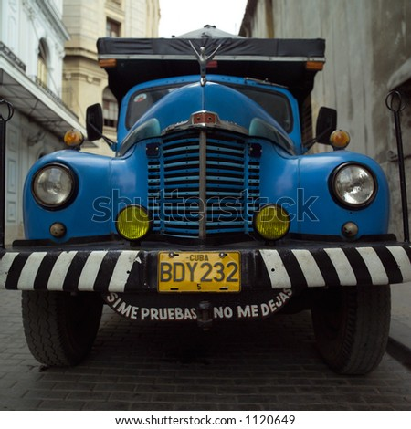 Low angle view of a truck on the street, Havana, Cuba - stock photo