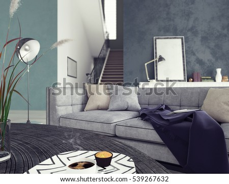 Low Angle View Beautiful Living Room Stock Illustration 539267632 ...