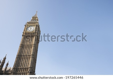 Low angle view of Big Ben against clear sky at London; England; UK - stock photo