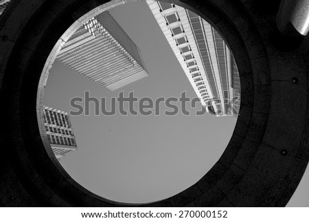 Low angle view of buildings, Midtown, Manhattan, New York City, New York State, USA - stock photo