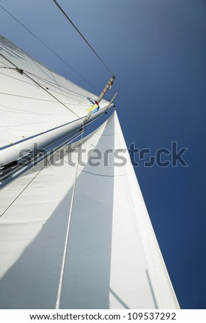 Low angle view of mast of the yacht