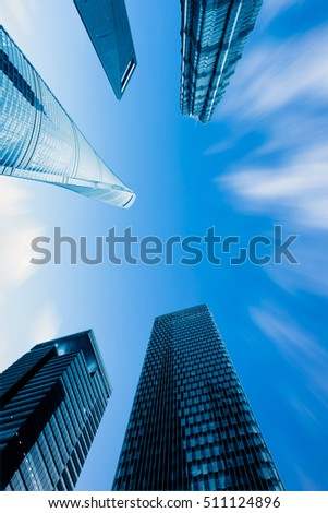 Low Angle View Of Modern Buildings with skyline.