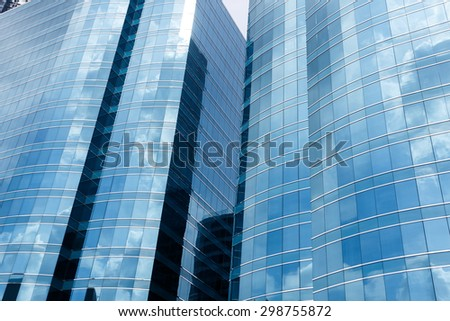 low angle view of modern office building - stock photo
