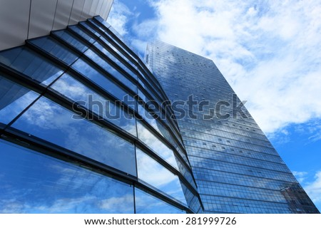 low angle view of office building exterior - stock photo