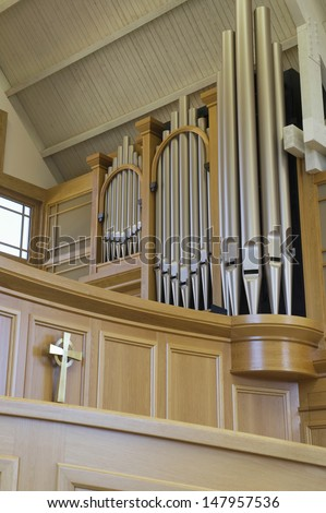 Low angle view of organ in a modern church