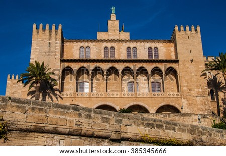 Low Angle View of Royal Palace of Almudaina, a Historic Arabian Fort Located in Palma, Mallorca, Spain