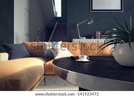 Low Angle View Beautiful Living Room Stock Illustration 541923472 ...
