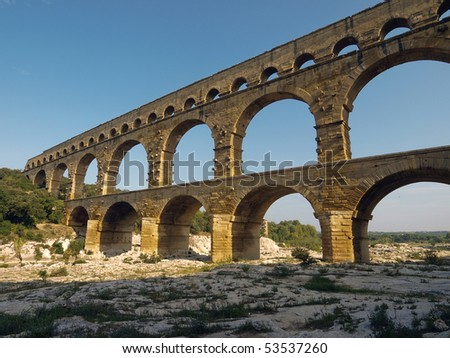 low angle view of the Pont du Gard, a Roman aqueduct in France - stock photo
