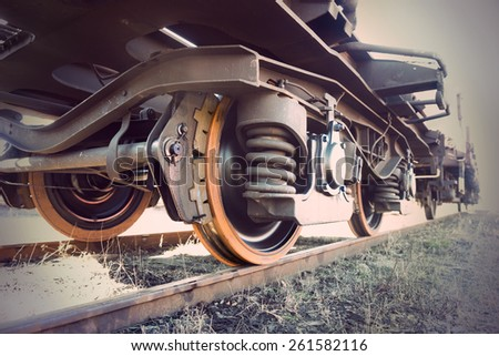 Low angle view of wheel of vintage train
