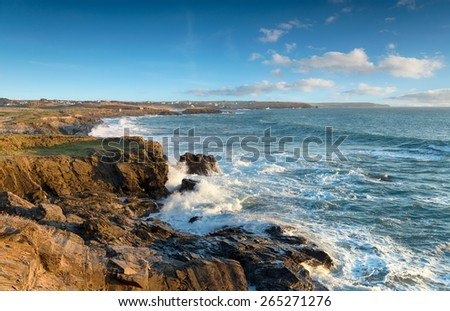 Low cliffs on the northern edge of Constantine Bay near Padstow in Cornwall - stock photo