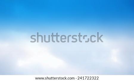 low contrast of sky, sky blue filter - stock photo