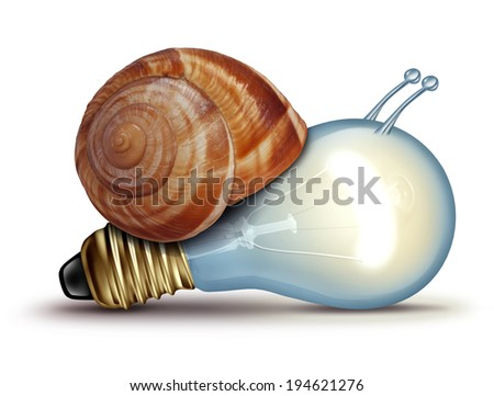 Low energy and slow creative concept as a light bulb or lightbulb with a snail shell as an innovation crisis metaphor for creativity issues facing new ideas to innovate on a white background. - stock photo