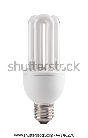 Low-energy compact fluorescent lamp for domestic use isolated on white - stock photo