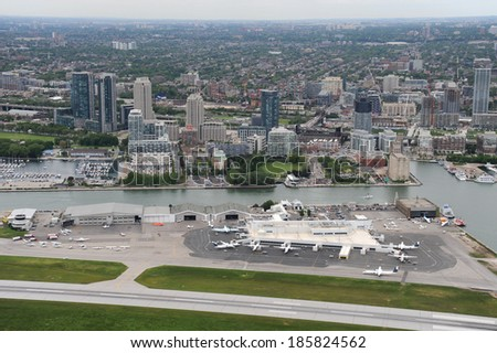 Low flying around Billy Bishop Airport - stock photo
