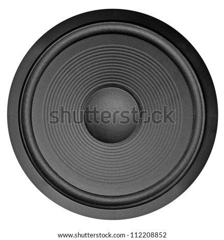 Low frequency audio speaker (subwoofer) isolated on white - stock photo