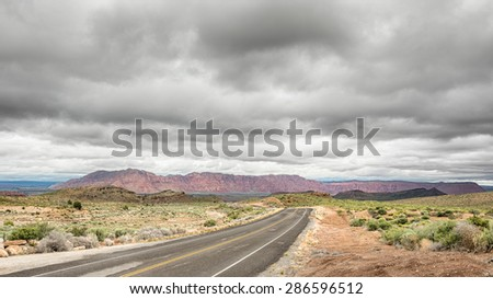 Low-hanging clouds over the Paiute Reservation on Old Highway 91, Nevada  - stock photo
