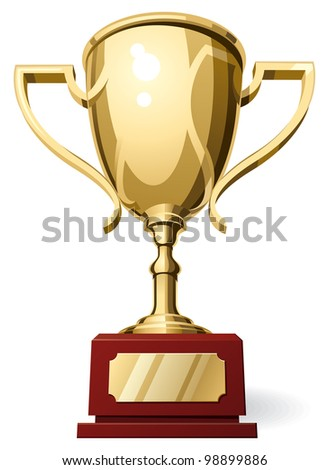 Low Horizon Front View of Golden Sport Cup on White Background. Rasterized Version - stock photo