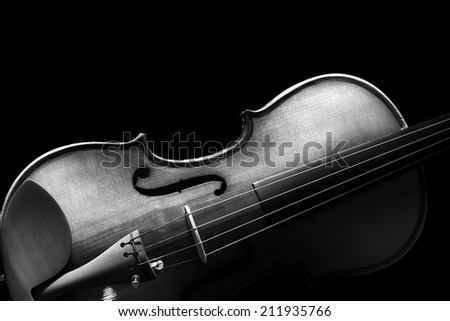 Low Key Image showing part of Violin & Beautiful Rim Light of Classical Violin Shape ,B&W processed & isolated - stock photo