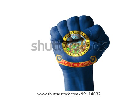 Low key picture of a fist painted in colors of american state flag of idaho