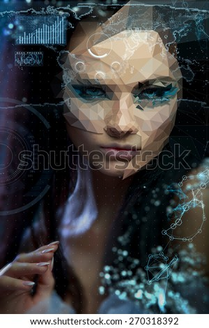 Low poly abstract Mixed Photo And Digital Portrait of a beautiful girl. Cybernetic Futuristic Concept for your Design. - stock photo