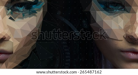 Low poly abstract Two sided portrait of a beautiful girl. Cybernetic Futuristic Concept for your Design. - stock photo